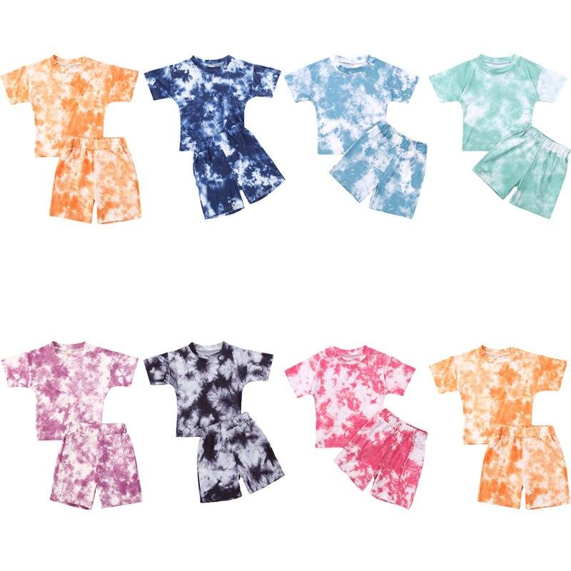 2020 bebê roupas de verão 2 pçs crianças terno conjunto meninas tie-dye impressão em torno do pescoço manga curta camiseta + calças
