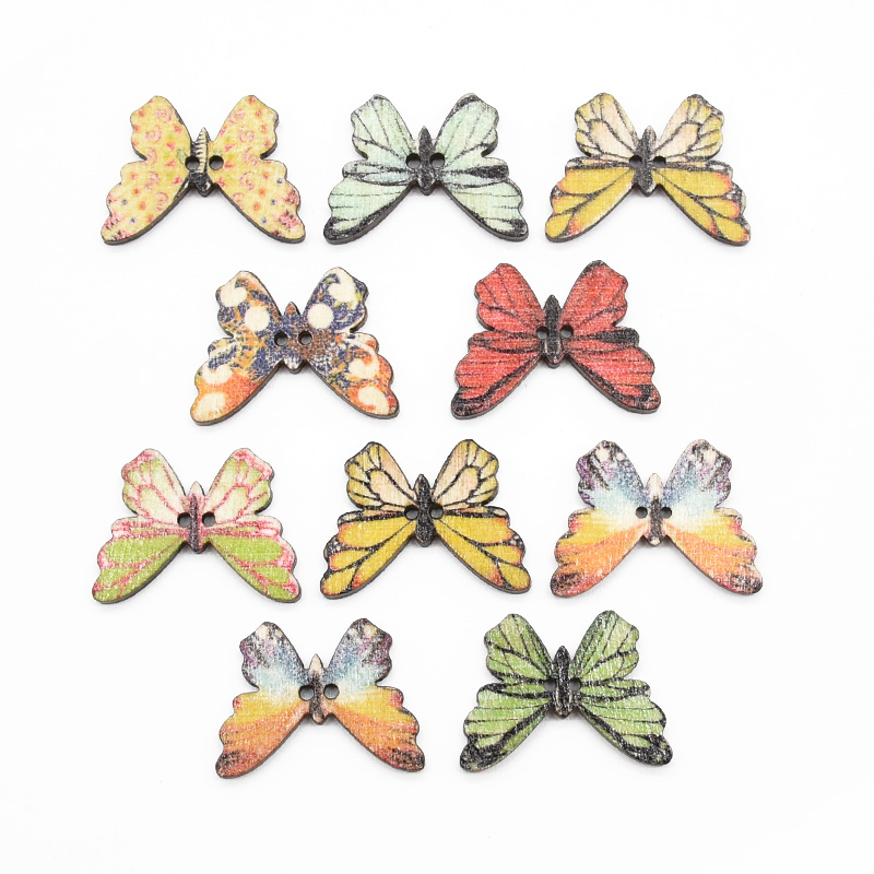 50pcs Butterfly Shape 2 Holes Wooden Buttons Sewing Button Kids Scrapbooking DIY Gift Box Craft Wedding Decoration (Random Color