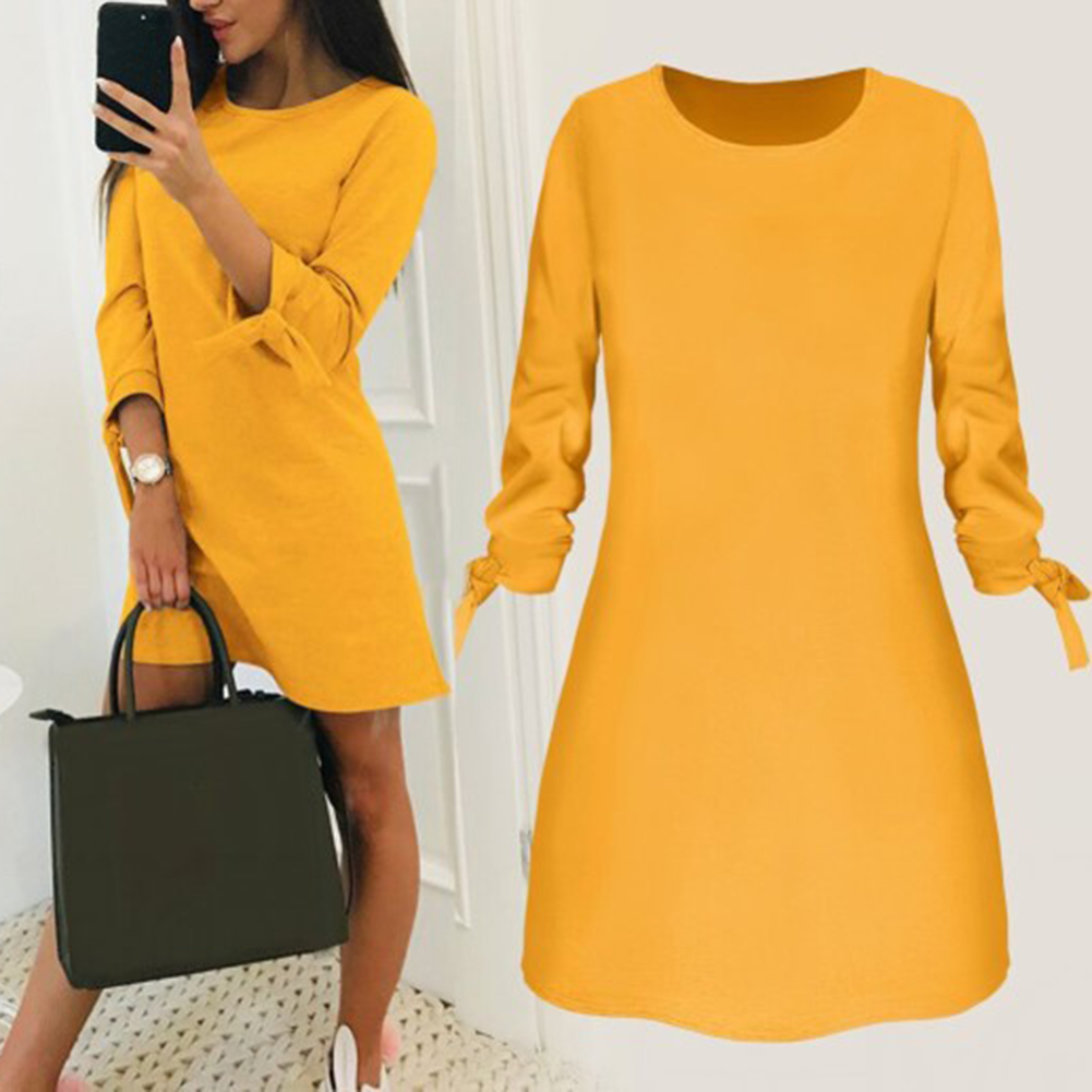 Fashion Women O Neck Dress Elegant Female Autumn WInter Long Sleeve Dresses Simple Casual Solid Loose Mini Dress Plus Size S-3XL