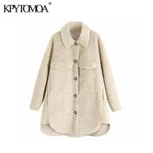Vintage Stylish Pockets Loose Fleece Jacket Coat Women 2020 Fashion Long Sleeve