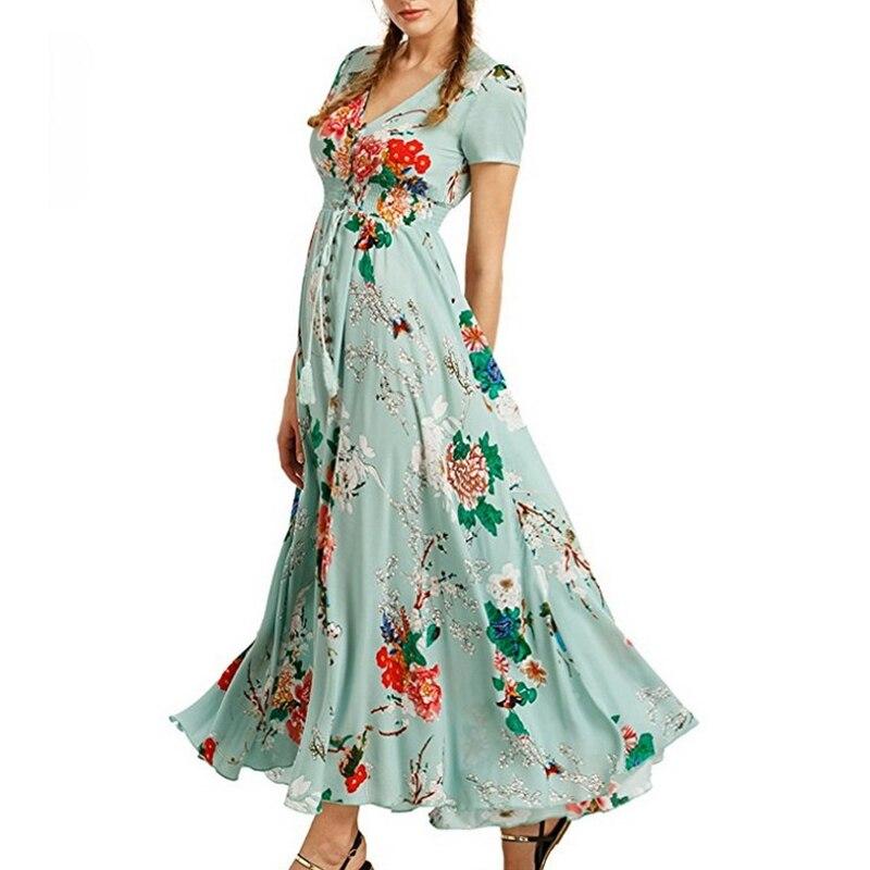 Платье с цветочным принтом в богемном стиле женская летняя обувь в богемном стиле длинное платье с v-образным вырезом, большие качели размер...