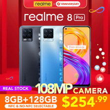 Realme 8 pro 8gb 128gb versão global 108mp câmera 50w superdart carga amoled snapdragon 720g