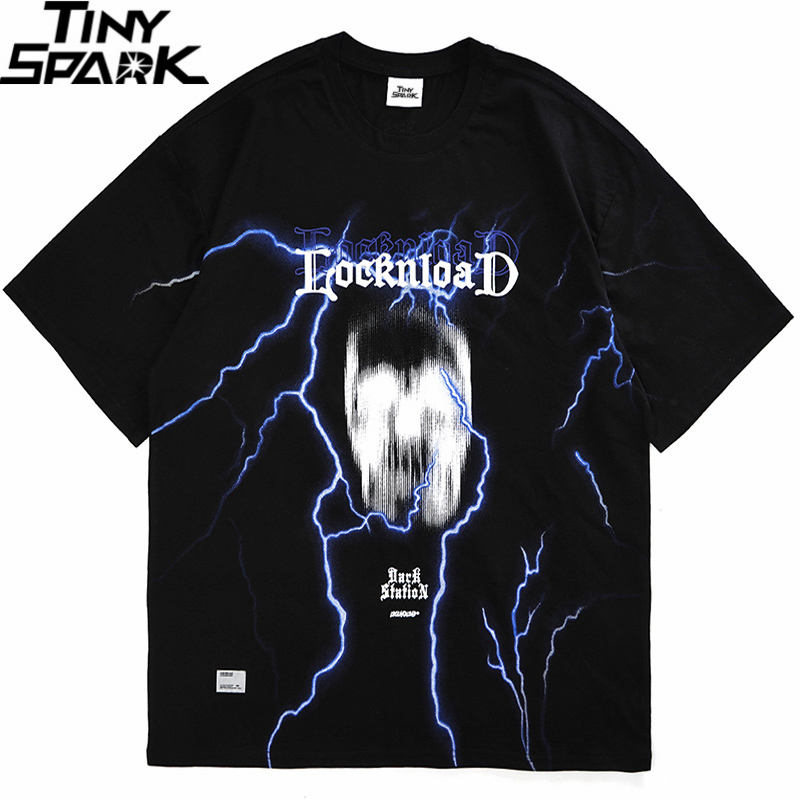 2020 T Shirt Mens Hip Hop Streetwear Dark Style Blurry Skull Lightning Harajuku T-Shirts Short Sleeve Summer Tops Tees Cotton