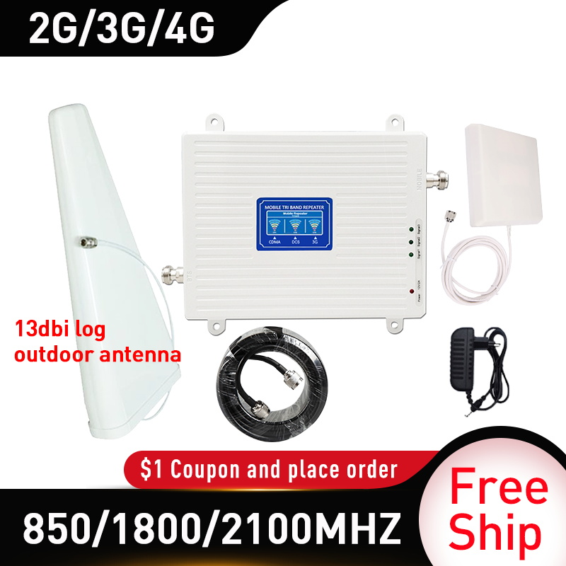 850/1800/2100MHZ Mobile Amplifier Tri Band Repeater WCDMA 2G 3G 4G Repeater DCS  Cellular Signal Booster Gain 70db 13dbi Antenna