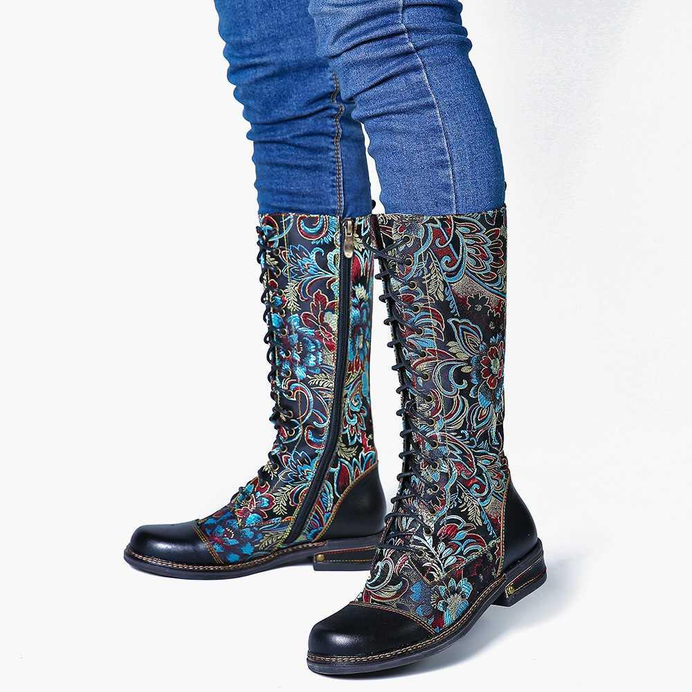 SOCOFY Fiori Modello Colorato Cuciture Elegante Zipper Lace Up Piatto Metà Polpaccio Stivali Scarpe Eleganti Scarpe Da Donna Botas Mujer - 6