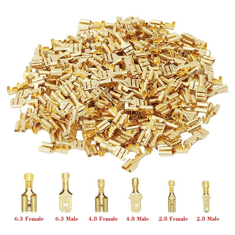 100 pçs/lote 2.8/4.8/6.3mm conector terminal de friso fêmea e masculino ouro bronze/prata alto falante do carro elétrico fio conectores conjunto Terminais    -