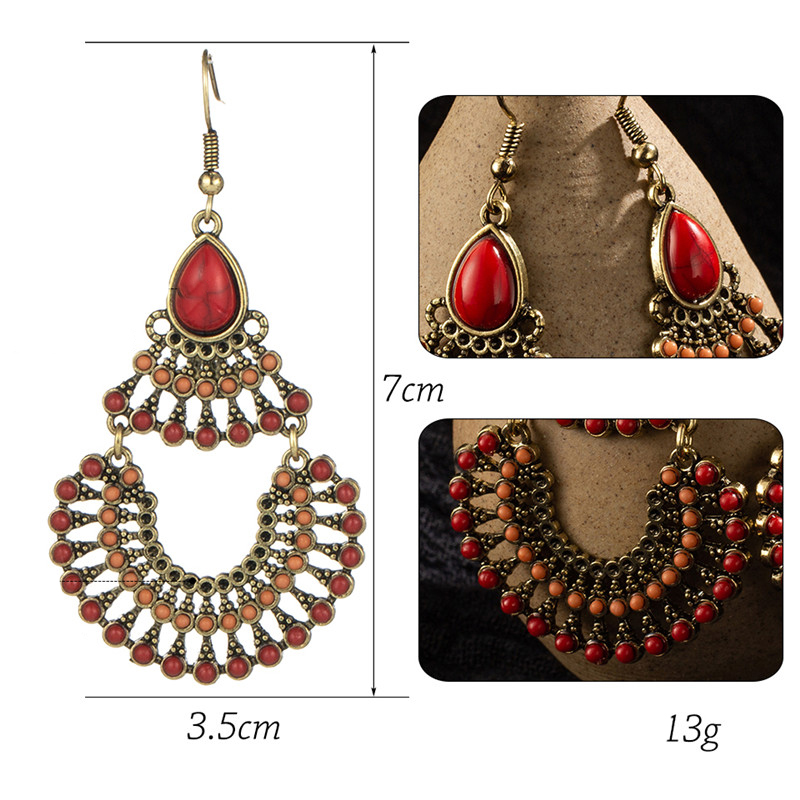 H1d9613c19cb94f30a5b33e568253773eP - Vintage Ethnic Bohemian Earrings for Womens Jewelry Big Round Circle Geometric Sequins Red stones Drop Earring Brincos Bijoux