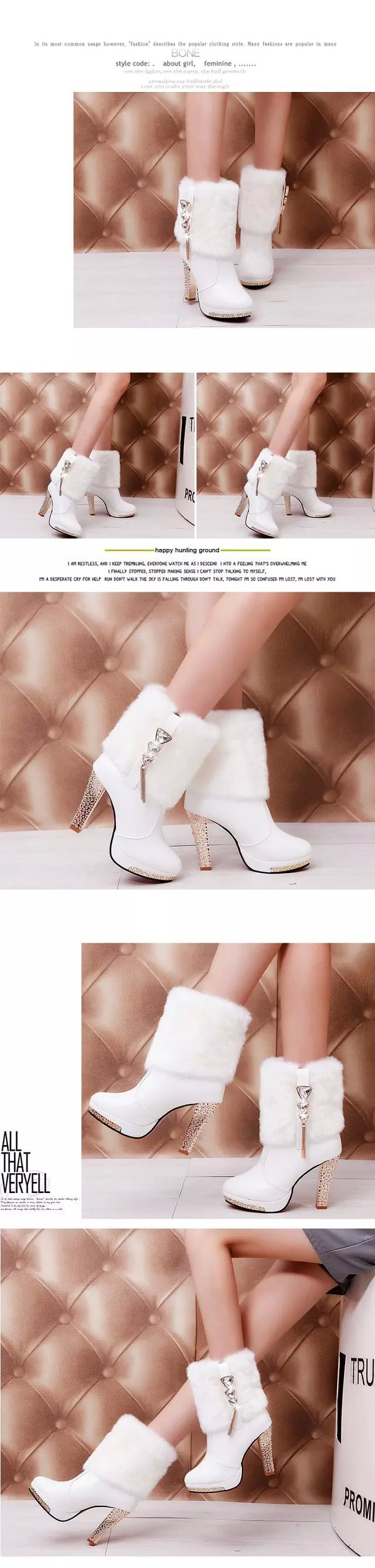 High Heels Snow Boots Women Leather Platform Plush Ladies Winter Shoes Warm Fur Ankle Boots for Women Botas Mujer 2019 Fashion 17
