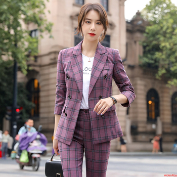 Gray Purple Plaid Female Suit Pants Elegant Autumn Blazer and Trousers Three Breasted Pants Suits Formal OL Work Wear 2 Pieces sky blue female suits pants women business elegant autumn blazer and trousers pants suit set office formal ol work wear 2 pieces