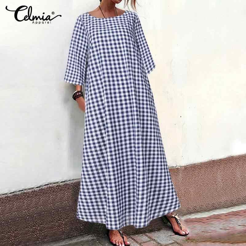 Áo Đầm Maxi Dài Đầm Celmia 2020 Plus Kích Thước Thời Trang Da Báo Giày Đi Biển Đảng Đầm Rời Vintage Ngày Lễ Vestidos S-5XL