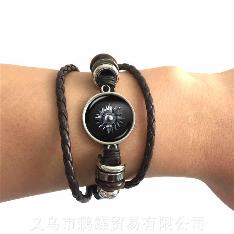 Czarny/brązowy bransoletki gra o tron szkło Cabochon skórzana bransoletka Stark Wolf House nieskończona głowy biżuteria najlepsze prezenty