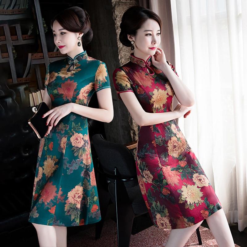 Cross Border 2019 Silk Cheongsam Mid-length Single Layer Short Sleeve Big Hemline Cheongsam Dress Improved Daily Life Middle-age