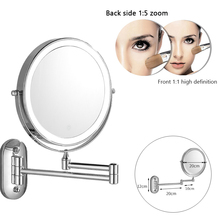 Makeup Mirror Wall-Mounted Bath Folding Bright Adjustable Magnifying LED 3x5x 7x10x Double-Sided-Touch