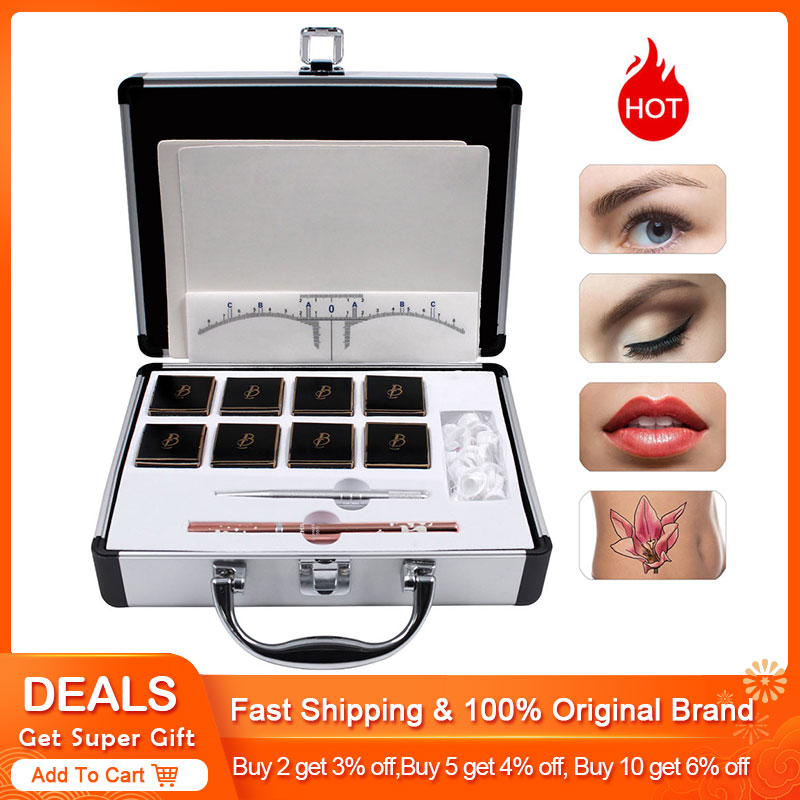 Biomaser4/8 Cream Pigment Microblading Kits For Permanent Makeup 3D Eyebrow Tattoo Starter Kits With Microblading Penna Ruler