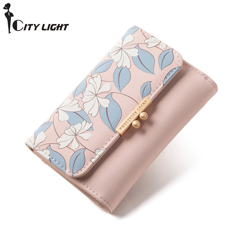 Brand New Short Wallet Many Departments Card Holder Carteira Female Portfel Synthetic Leather Wallet Women Purse Ladies Purses