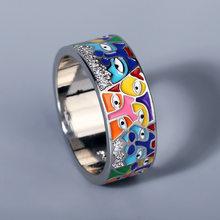 Anillos de plata de ley 925 para mujer, CZ blanca hecha a mano, esmalte, Gato encantador, anillo único de moda para fiesta, joyería