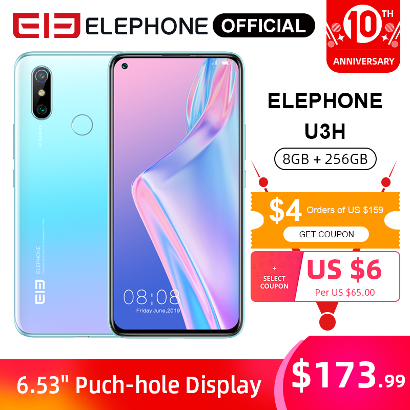 "ELEPHONE U3H Helio P70 Octa Core Smartphone 6.53"" FHD+ 8GB 256GB 24MP Selfie 48MP Dual Camera NFC Android 10 Mobile Phone"