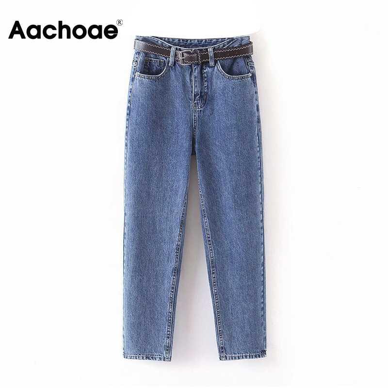 Aachoae moda kadın anne kot kemer kovboy uzun pantolon erkek streç kot rahat kadın yıkanmış Denim Harem pantolon