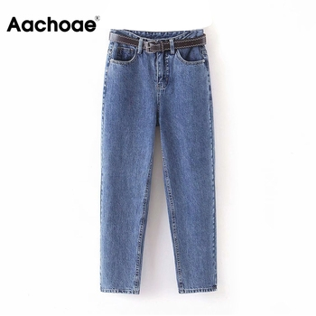 Aachoae mode femmes maman jean avec ceinture Cowboy pantalons longs petit ami Stretch jean décontracté femme lavé Denim sarouel