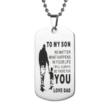 Hot Selling Jewelry Stainless Steel Tag Necklace TO My Son Letter Army Pendant Pendant Pendant Can Be Engraved цена 2017