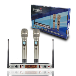 STARAUDIO 2 Channel UHF Handheld Adjustable Frequency Wireless Microphone System 2CH Church Stage Karaoke Party Mic SMU-0215A