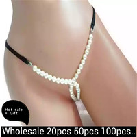 Wholesale Lady Sexy Bikini underwear Pearl Chain Club Necklace Couple Flirt Thong Panties G string Chain Body Jewelry For Women