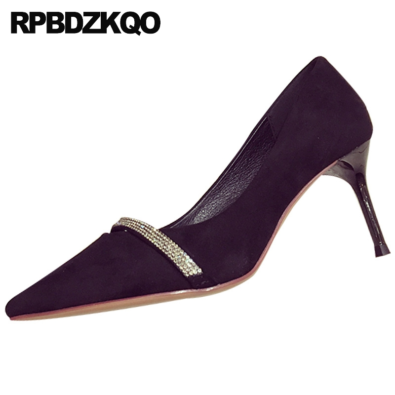Diamant mince soirée bout pointu chaussures en cristal femmes 2019 daim pompes noir talons hauts scarpin strass fête chine 3 pouces