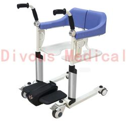 Multifunctional Open Up Wheelchair Mobile Seat Bed Disabled Elderly Toilet Hand Push Rehabilitation Nursing Commode Wheelchair
