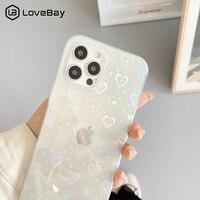 Funda de teléfono a prueba de golpes para iPhone, carcasa transparente con patrón de corazón de amor láser gradiente para iPhone 11 12 Pro Max X XS XR 7 8 Plus SE 2020