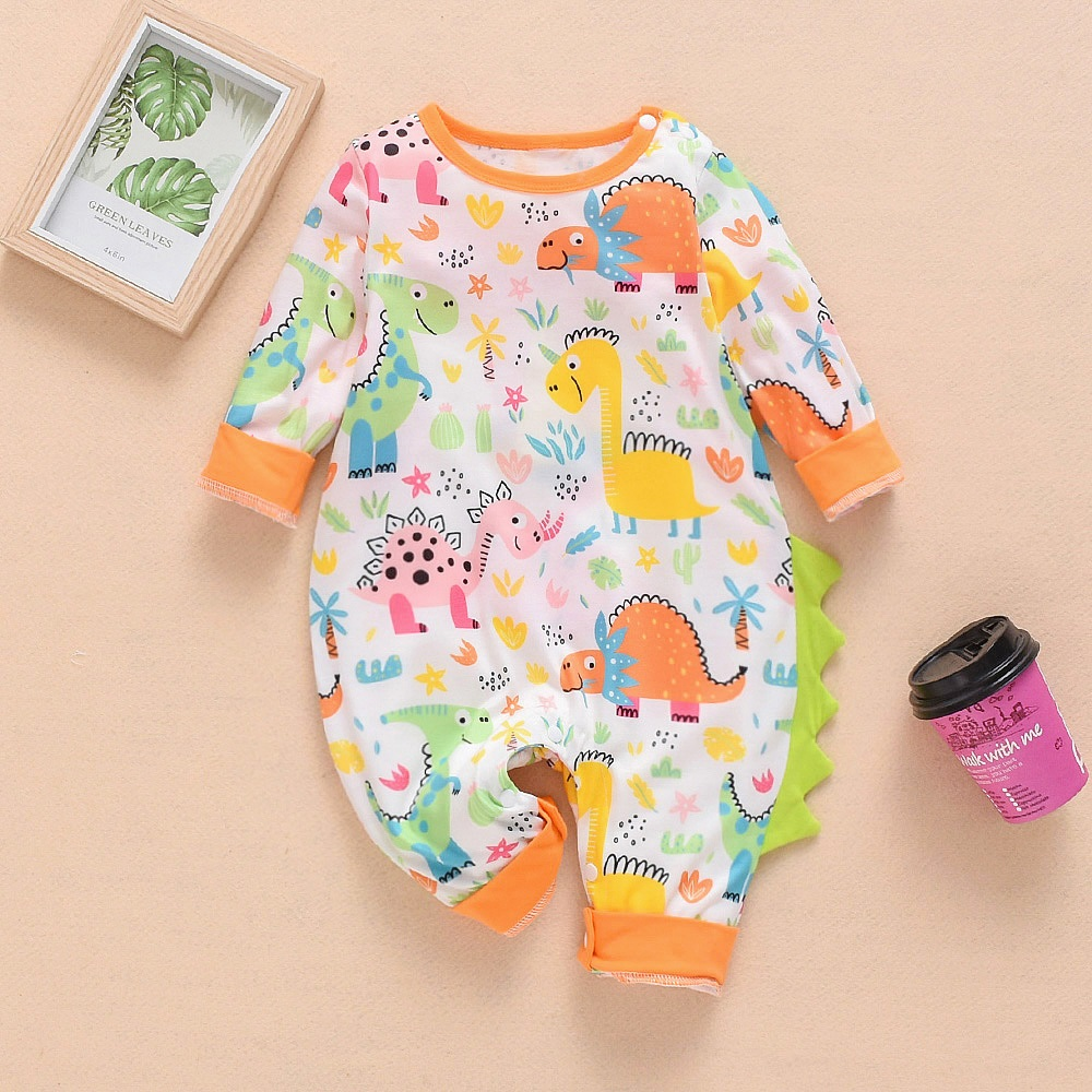 NEW Newborn Baby Clothes Boys Girls Rompers Floral Rabit Dinosaur Printed Long Sleeve Cotton Kid Jumpsuit Playsuit Outfits 0-24M