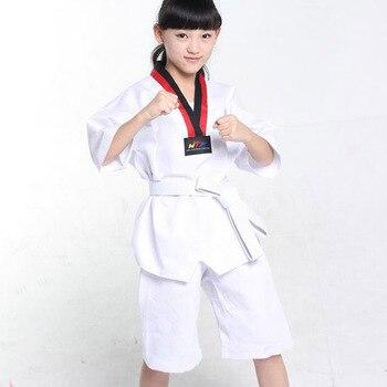 Los niños Kimono Judo Kickboxing práctica traje adolescente blanco niños niñas Taekwondo traje Karate Tae Kwon hacer ropa F106