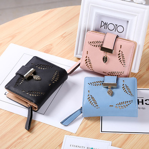 2020 New Women Short Wallets Zipper Buckle Hollow Leaves Small Wallet PU Leather Wallet Card Holder Female Coin Coin Purse