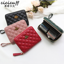 Cowhide RFID Card Holder Multi-card bits Women's Genuine Leather Passport Cover Plaid Business Card Bag Wallet for Credit Cards