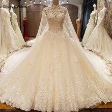 LS78479 abiti da sposa turchia posteriore del corsetto in rilievo di cristallo dellabito di sfera di lusso arabo abito da sposa con il treno lungo avorio reale foto