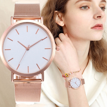 цена на Women Watches Fashion Casual Rose Gold Brand Luxury Quartz Movement Steel mesh Wristwatches Female Dress Clock Watch reloj mujer