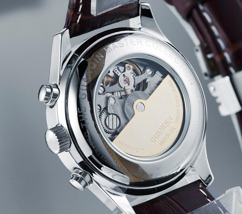 H1d979bc04d804535b166090514299bf49 GUANQIN Relogio Masculino Automatic Mechanical Men Watches Waterproof Calendar Moon Leather Wristwatch otomatik erkek saat