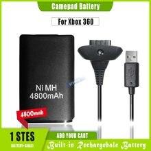 1 шт., аккумуляторная батарея 4800 мАч + USB-кабель для зарядного устройства для XBOX 360, беспроводной контроллер, аккумулятор для джойстика Ni-MH