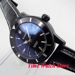 Bliger 46mm luksusowy mechaniczny czarny dial okno daty świetlista skóra PVD case Miyota mechanizm automatyczny męski zegarek BL118