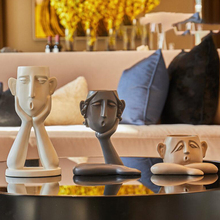 3Pcs/set Nordic abstract human face resin vase Art Flower pot Minimalist Figurine Crafts Ornament Home decoration accessories