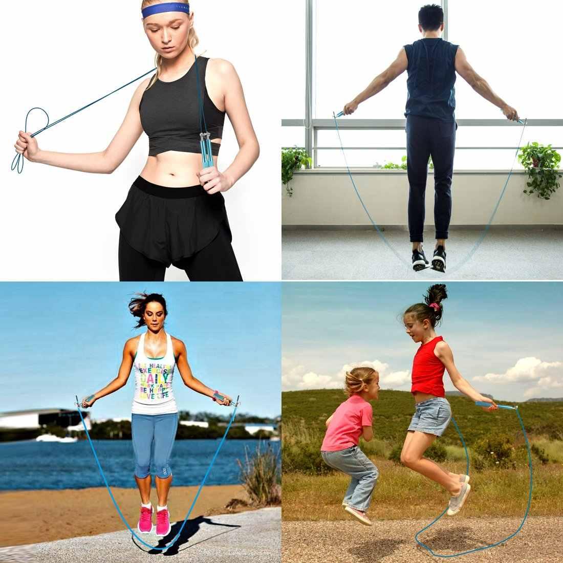Kebugaran Lompat Tali Latihan Latihan Ringan Bantalan Lompat Tali Logam Kecepatan CrossFit Gym MMA Latihan Orang Dewasa Anak Peralatan