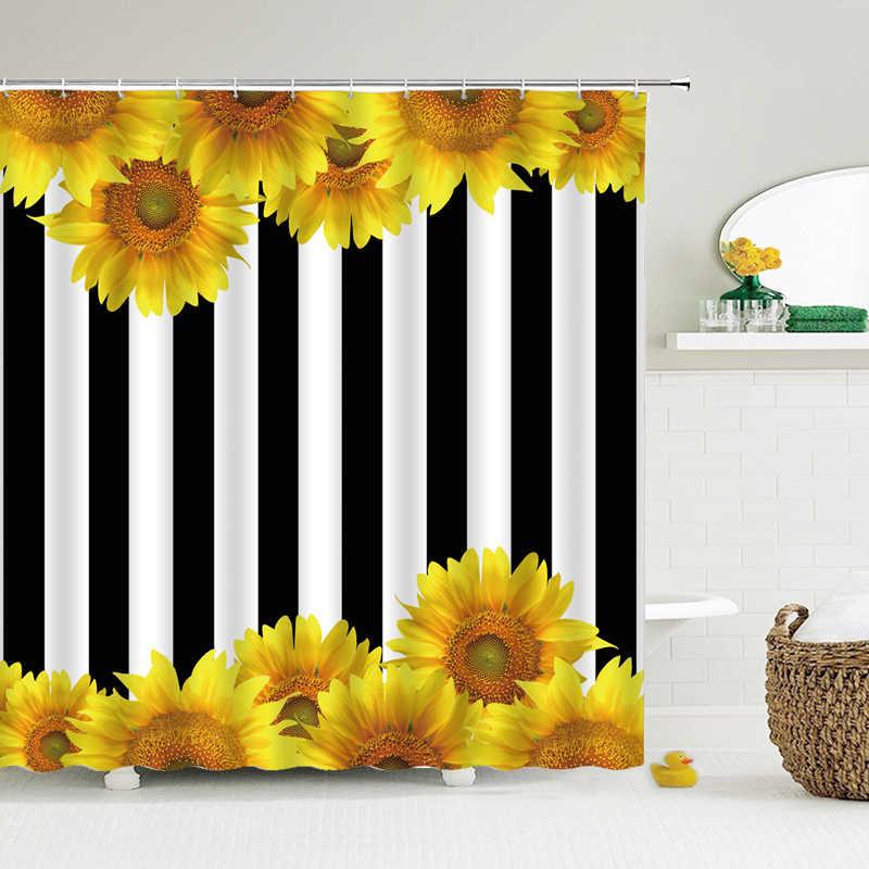 Sunflowers Shower Curtains Black And White Striped Bathroom Decor Bath Bathtub Waterproof Polyester Cloth Curtain Set Shower Curtains Aliexpress