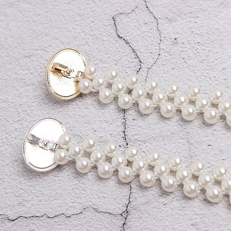 Cinturón blanco perla mujeres chicas moda diy hebillas obag Correa cinturones Niza alta calidad caída cinturones de barco hebillas - 3