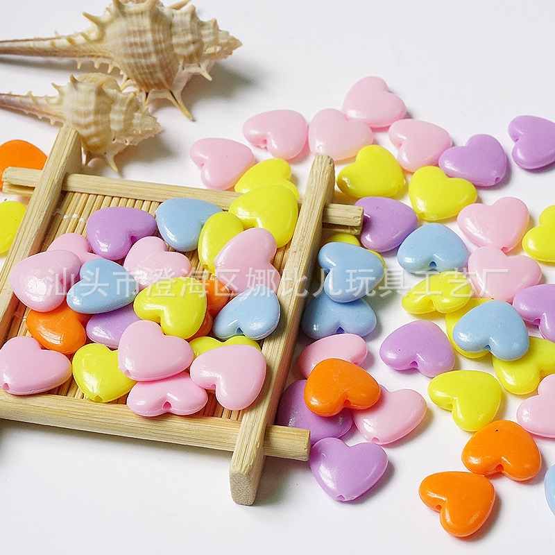 Solid Color Spring Color Candy-Colored Almond Heart Loose Beads Heart Plastic Beads Children DIY Bracelets Necklace Material