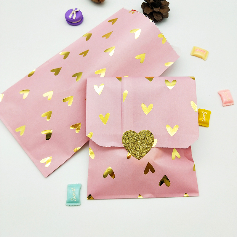 100pcs Pink Paper Bags With Gold Foil Hearts For Gifts Food Birthday Party Decorations Kids Candy Cookies Paper Bags Stickers