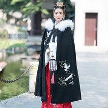 Cape Hanfu Cloak Christmas-Costume Chinese-Traditional Black Women Winter for Velvet