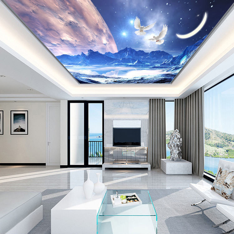 Whole Piece Seamless Large Star Ceiling Hotel KTV Evening Show Internet Cafes Engineering Decoration Wallpaper Mural