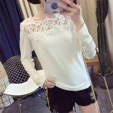 цена на Autumn Women T- shirt Fashion Round Neck Patchwork Lace Tee Shirt for Woman Long Sleeve Ladies Tops Ropa De Mujer Moda C333