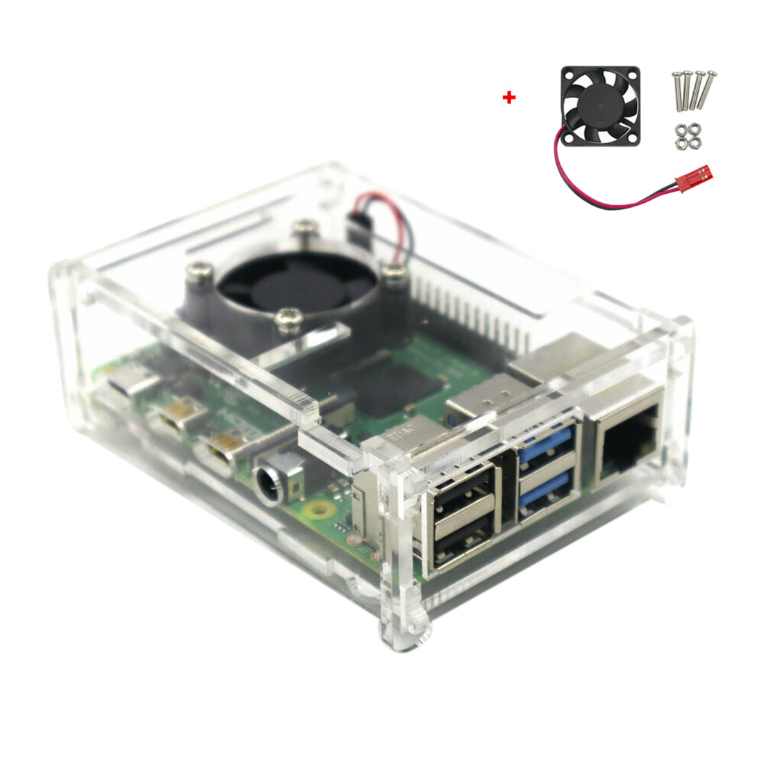 Clear Acrylic Case Enclosure Box With Cooling Fan For Raspberry Pi 4 Model B  Programmable Toys  Accessories - Black