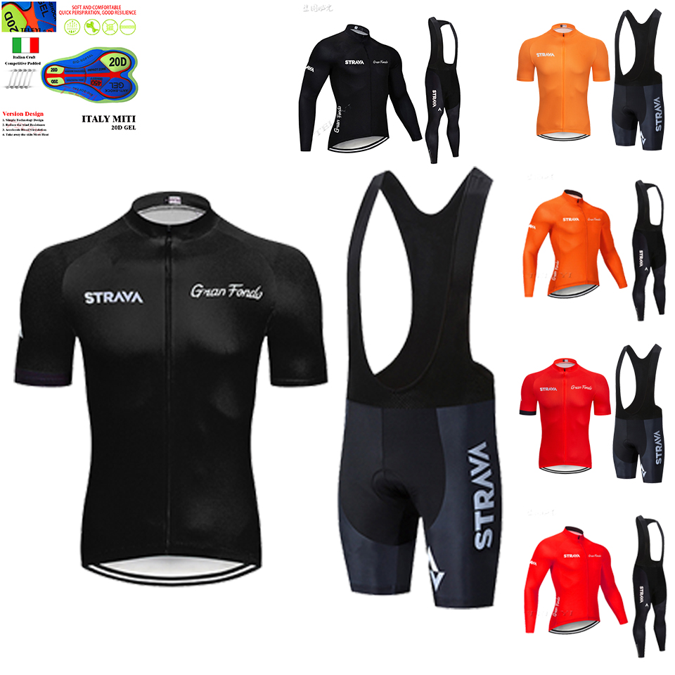 2020 STRAVA  Long Sleeve Cycling Jersey Set Bib Pants Ropa Ciclismo Bicycle Clothing MTB Bike Short Sleeve Jersey Men's Clothes
