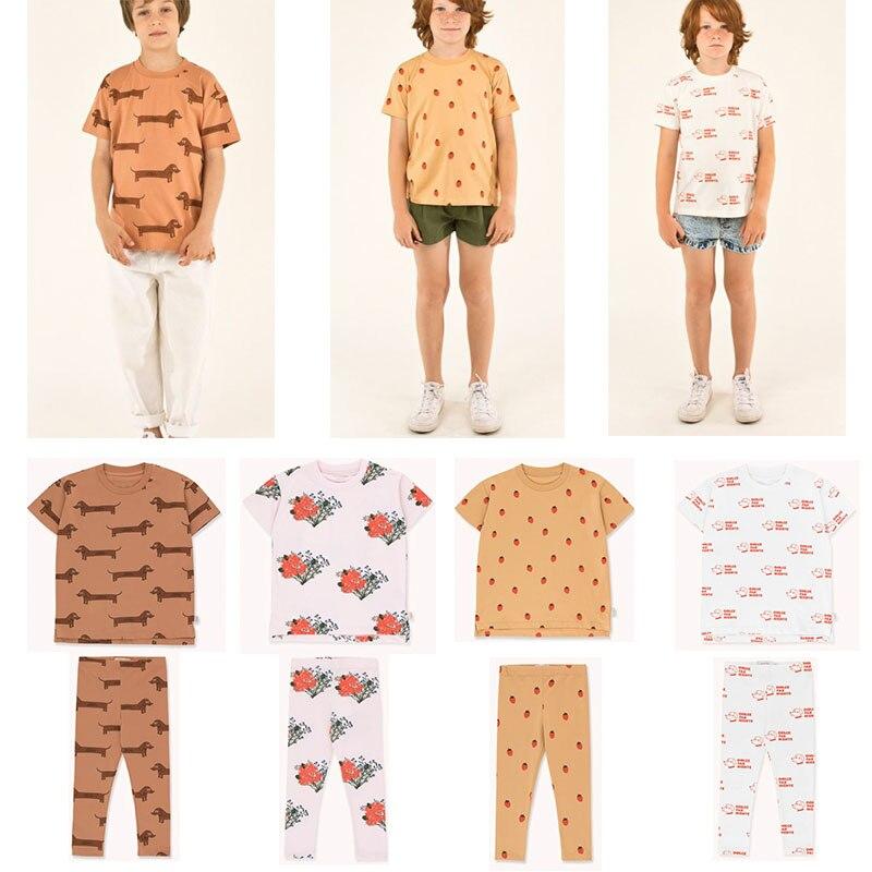 EnkeliBB 2020New Children Spain Brand Clothing Sets Strawberry Dog Print Cartoon Tshirt And Pants Sets Baby Brand Pajama Outfit
